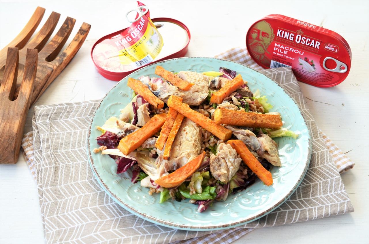 salata cu macrou grau si cartofi dulci