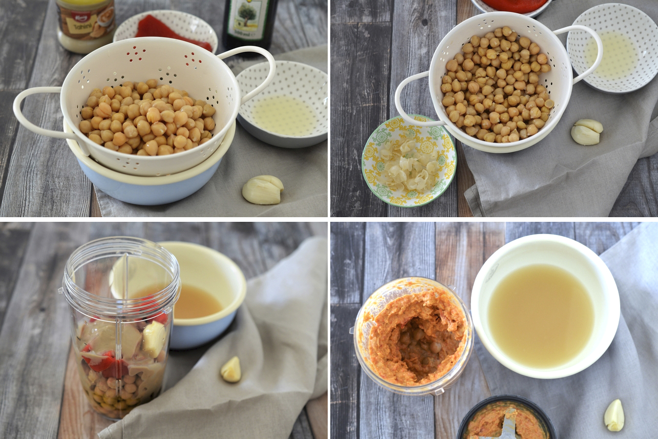 Hummus cu ardei copt si pui